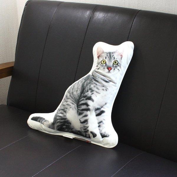 画像1: SALE40%OFF・アンダロ グレイ キャット 猫柄クッション【リアルプリント・ポーランド製・ANDARO】 (1)