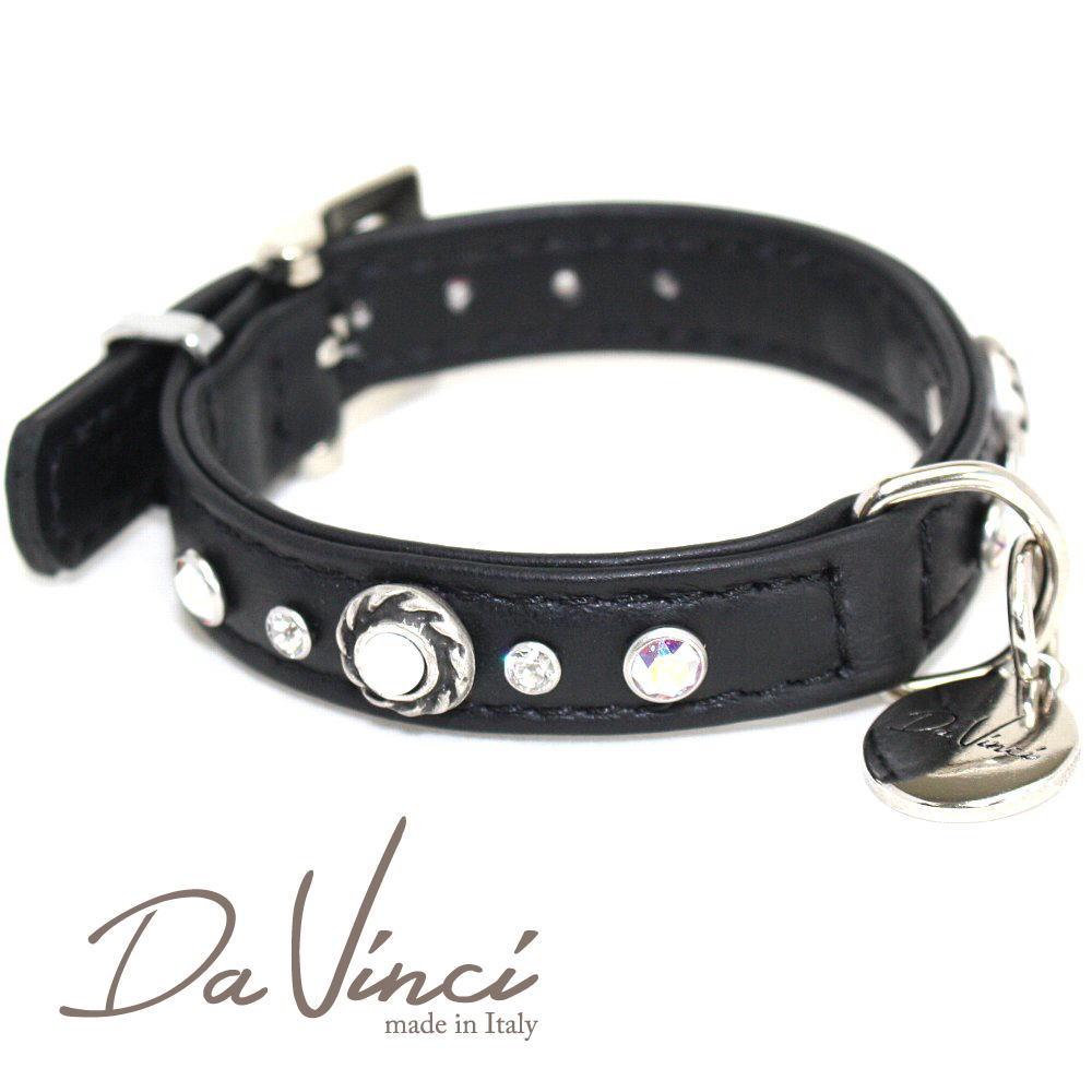 画像1: ダヴィンチ カラー Vittoria:黒 DV1.1.25B 【小型犬用首輪・首周り実寸:約17〜21cm お洒落な お洒落な イタリア製 かわいい オシャレ Da Vinci】 (1)