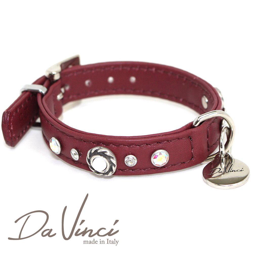 画像1: ダヴィンチ カラー Vittoria:ボルドー DV1.1.25BX 【小型犬用首輪・首周り実寸:約17〜21cm お洒落な イタリア製 かわいい Da Vinci】 (1)