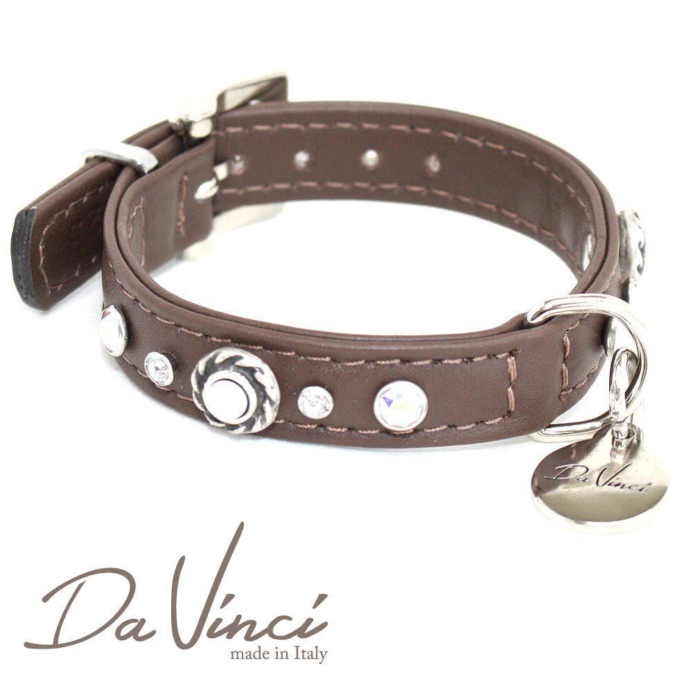 画像1: ダヴィンチ カラー Vittoria:茶 DV1.1.25BR 【小型犬用首輪・首周り実寸:約17〜21cm お洒落な イタリア製 かわいい Da Vinci】 (1)