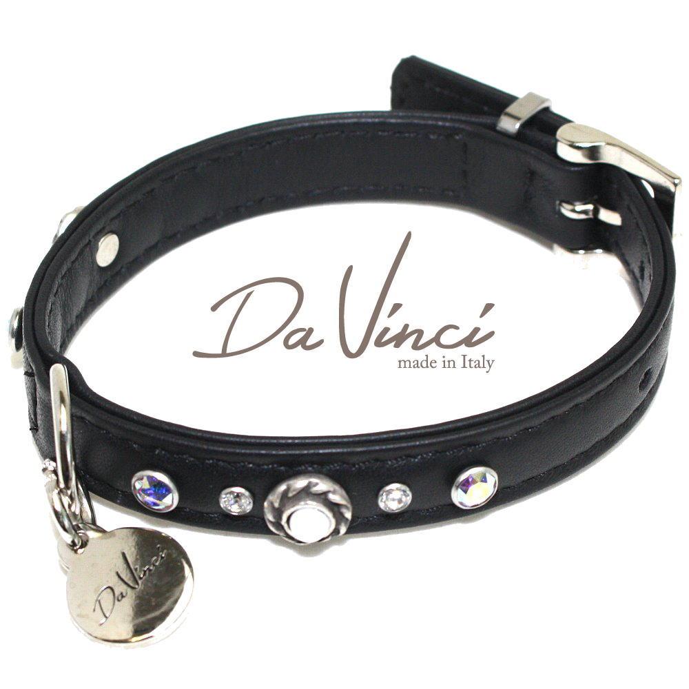 画像1: ダヴィンチ カラー Vittoria:黒 DV1.1.30B 【小型犬用首輪・首周り実寸:約20〜25cm お洒落な イタリア製 かわいい Da Vinci】 (1)