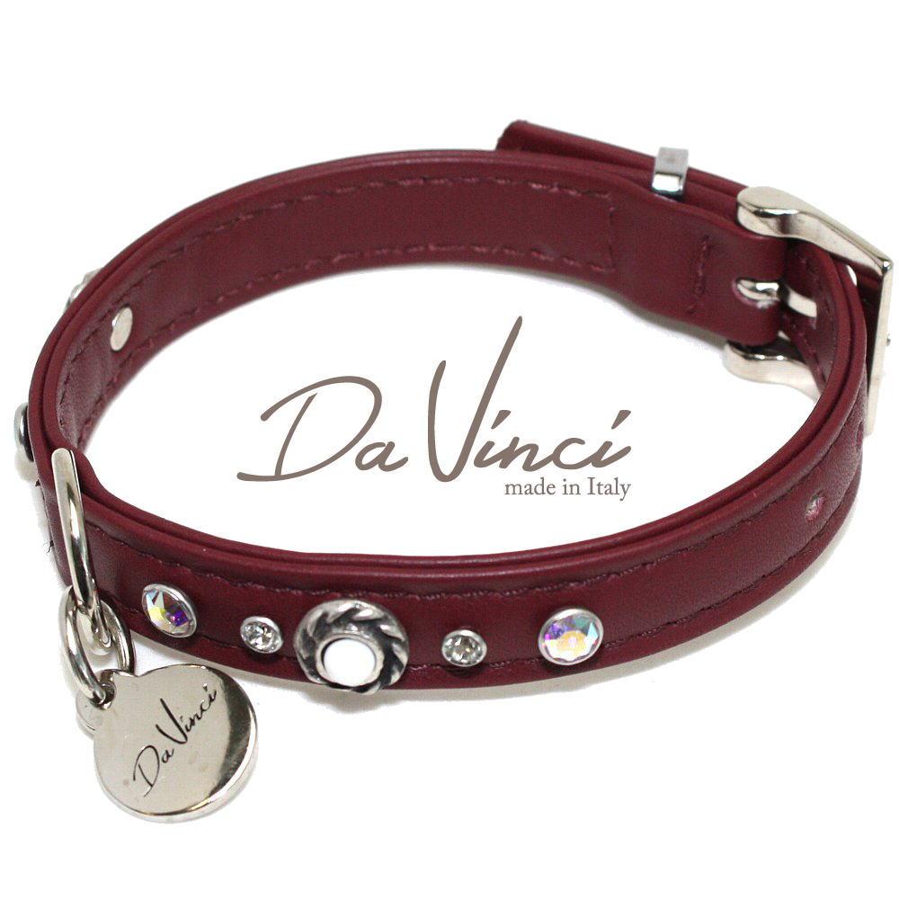 画像1: ダヴィンチ カラー Vittoria:ボルドー DV1.1.30BX 【小型犬用首輪・首周り実寸:約20〜25cm お洒落な イタリア製 かわいい Da Vinci】 (1)