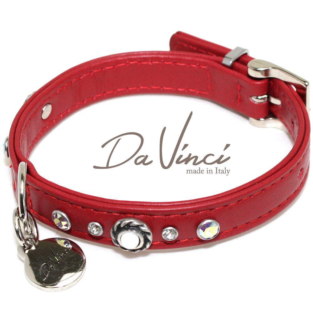 画像1: ダヴィンチ カラー Vittoria:赤 DV1.1.30R 【小型犬用首輪・首周り実寸:約20〜25cm お洒落な イタリア製 かわいい Da Vinci】 (1)