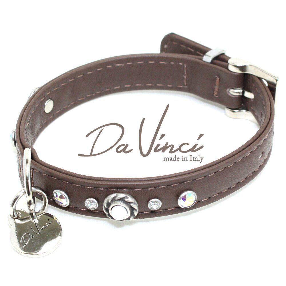 画像1: ダヴィンチ カラー Vittoria:茶 DV1.1.30BR 【小型犬用首輪・首周り実寸:約20〜25cm お洒落な イタリア製 かわいい Da Vinci】 (1)