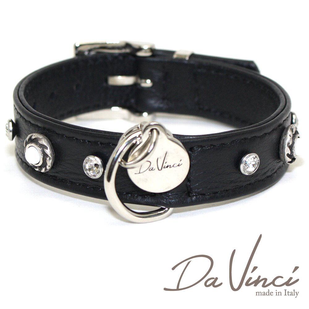 画像1: ダヴィンチ /カラー Vittoria:黒/DV1.2.30B 【小型犬用首輪・首周り実寸:約20〜25cm/お洒落な/イタリア製/かわいい/Da Vinci】 (1)