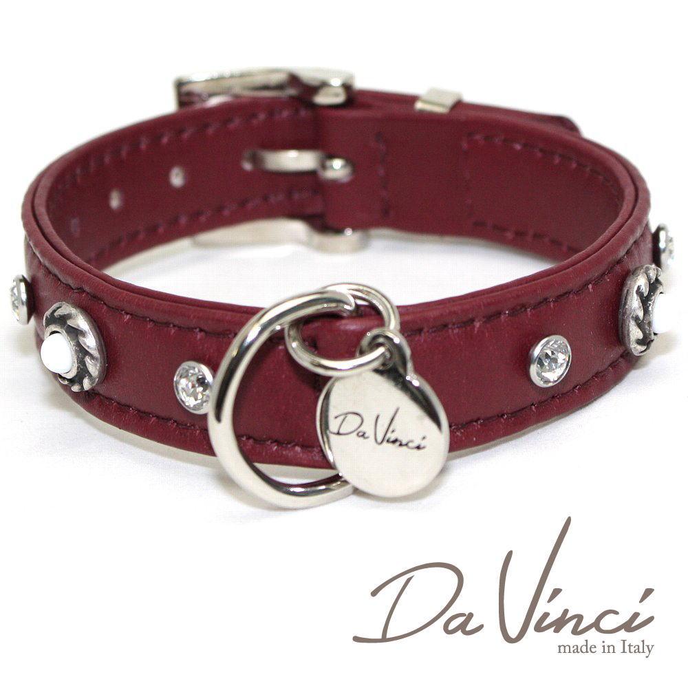 画像1: ダヴィンチ カラー Vittoria:ボルドー DV1.2.30BX 【小型犬用首輪・首周り実寸:約20〜25cm お洒落な イタリア製 かわいい Da Vinci】 (1)
