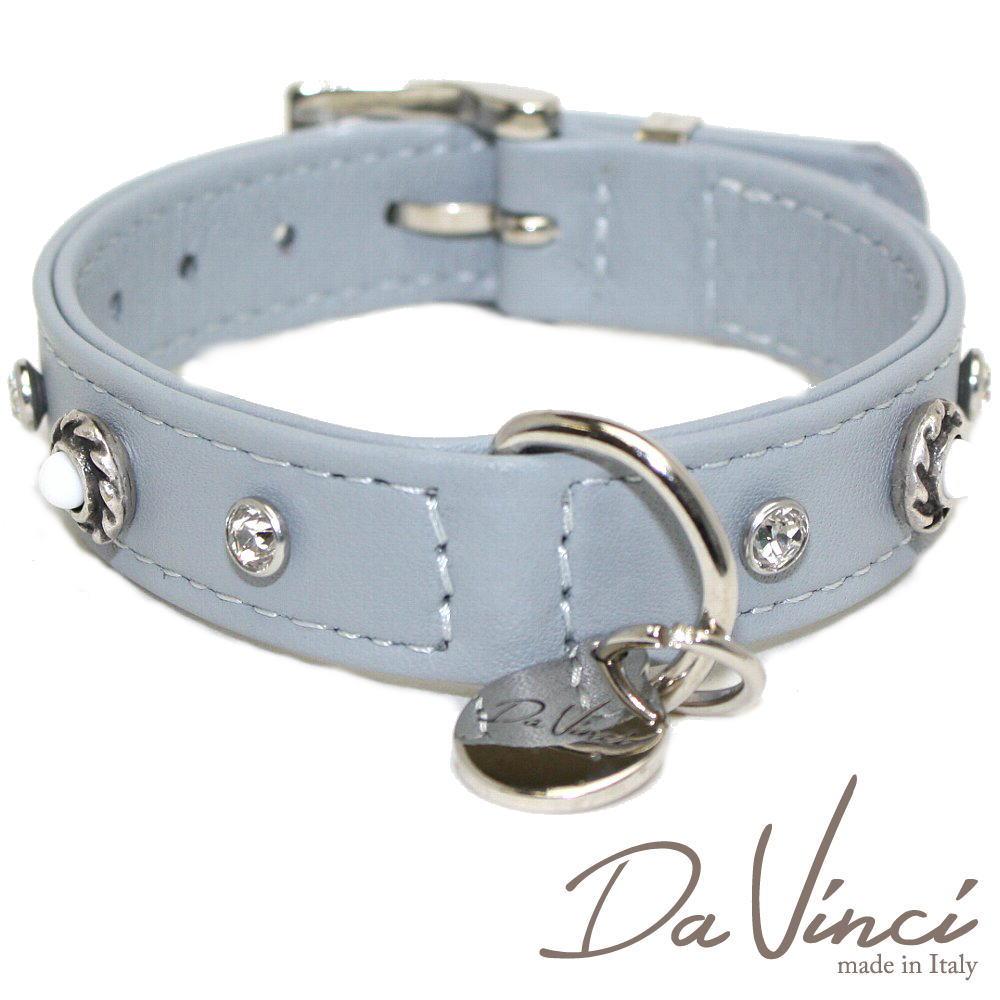 画像1: ダヴィンチ カラー Vittoria:グレー DV1.2.30G 【小型犬用首輪・首周り実寸:約20〜25cm お洒落な イタリア製 かわいい Da Vinci】 (1)