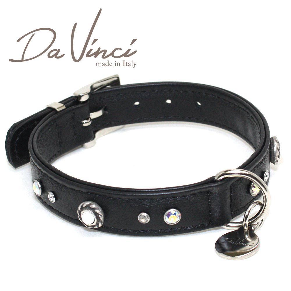 画像1: ダヴィンチ /カラー Vittoria:黒/DV1.2.35B 【小型用首輪・首周り実寸:約24〜30cm/お洒落な/イタリア製/かわいい/Da Vinci】 (1)