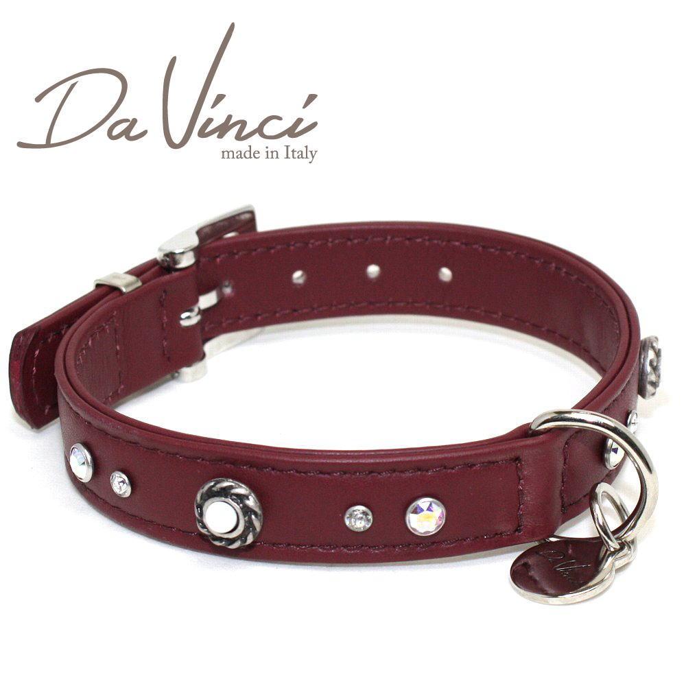 画像1: ダヴィンチ カラー Vittoria:ボルドー DV1.2.35BX 【小型用首輪・首周り実寸:約24〜30cm お洒落な イタリア製 かわいい Da Vinci】 (1)