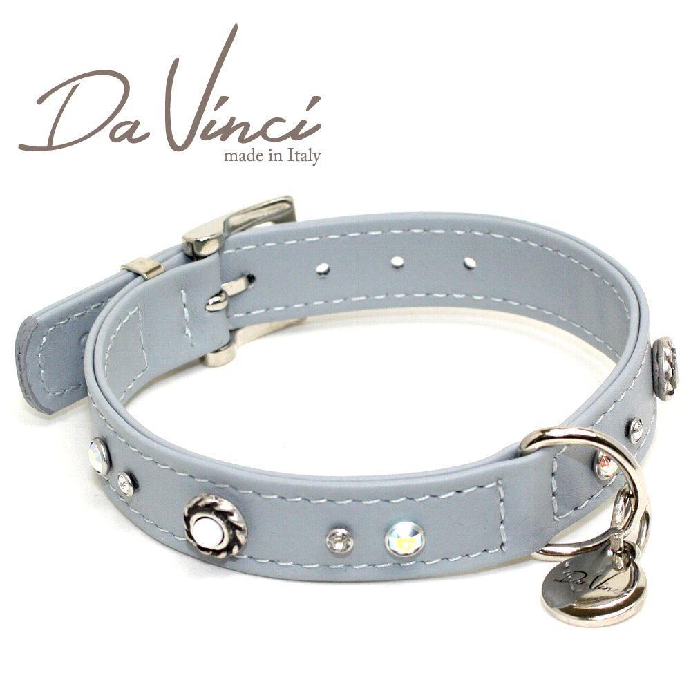画像1: ダヴィンチ カラー Vittoria:グレー DV1.2.35G 【小型用首輪・首周り実寸:約24〜30cm お洒落な イタリア製 かわいい Da Vinci】 (1)