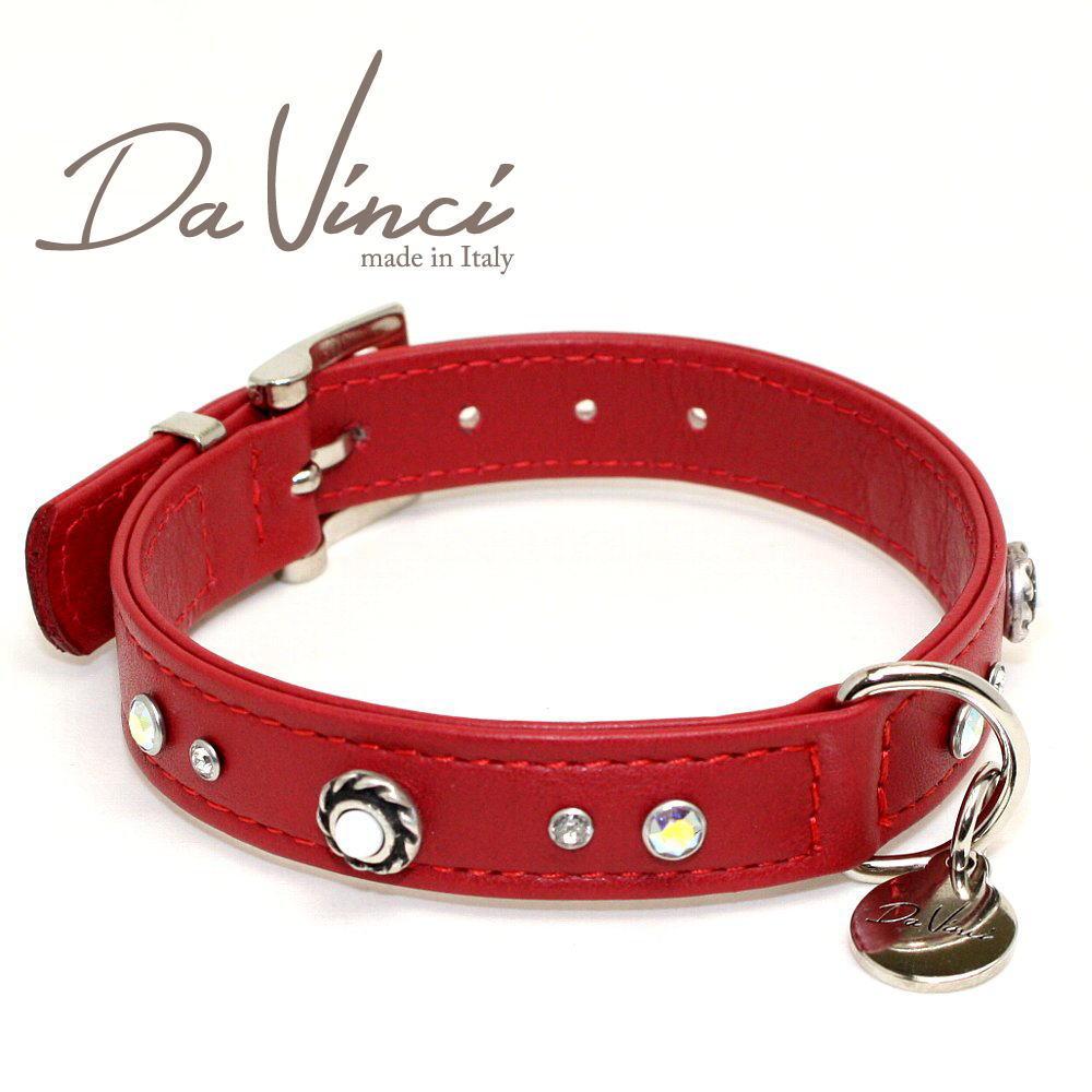 画像1: ダヴィンチ /カラー Vittoria:赤/DV1.2.35R 【小型用首輪・首周り実寸:約24〜30cm/お洒落な/イタリア製/かわいい/Da Vinci】 (1)