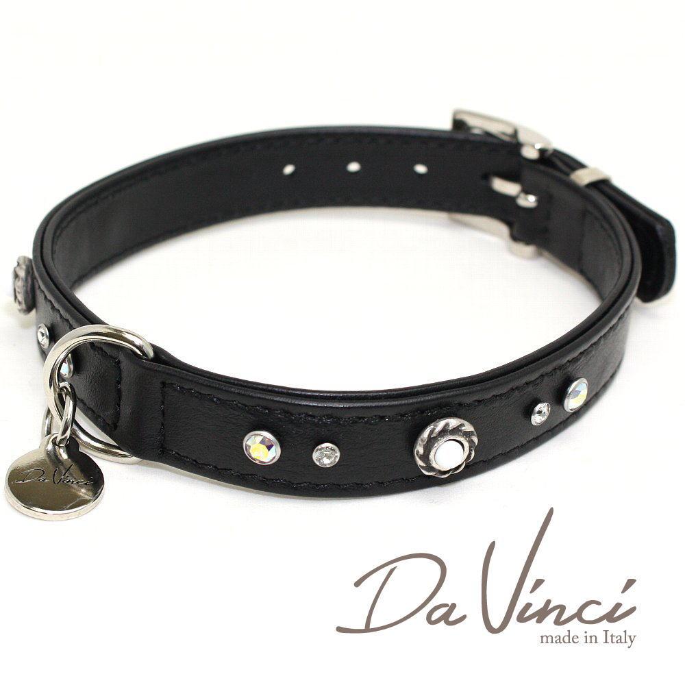 画像1: ダヴィンチ /カラー Vittoria:黒/DV1.2.40B 【中型犬用首輪・首周り実寸:約29〜35cm/お洒落な/イタリア製/かわいい/Da Vinci】 (1)