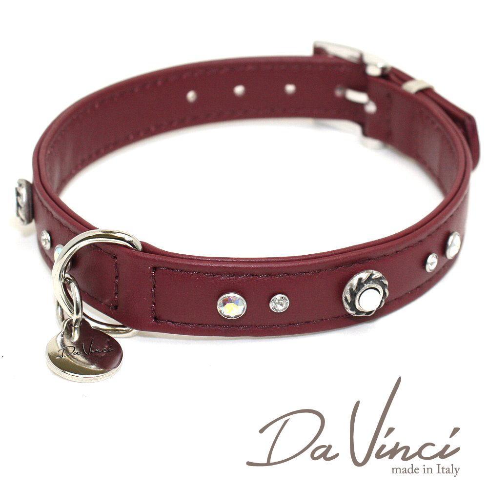 画像1: ダヴィンチ /カラー Vittoria:ボルドー/DV1.2.40BX 【中型犬用首輪・首周り実寸:約29〜35cm/お洒落な/イタリア製/かわいい/Da Vinci】 (1)