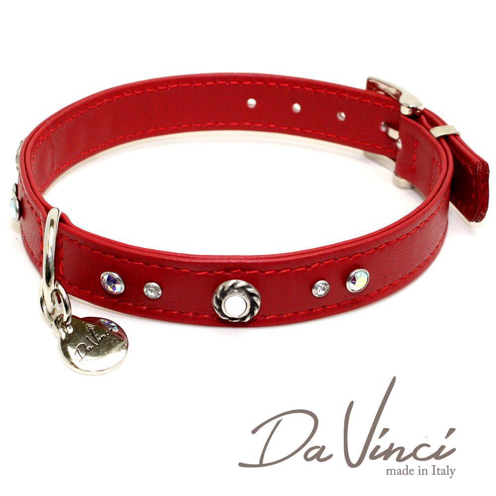 画像1: ダヴィンチ カラー Vittoria:赤 DV1.2.40R 【中型犬用首輪・首周り実寸:約29〜35cm お洒落な イタリア製 かわいい Da Vinci】 (1)