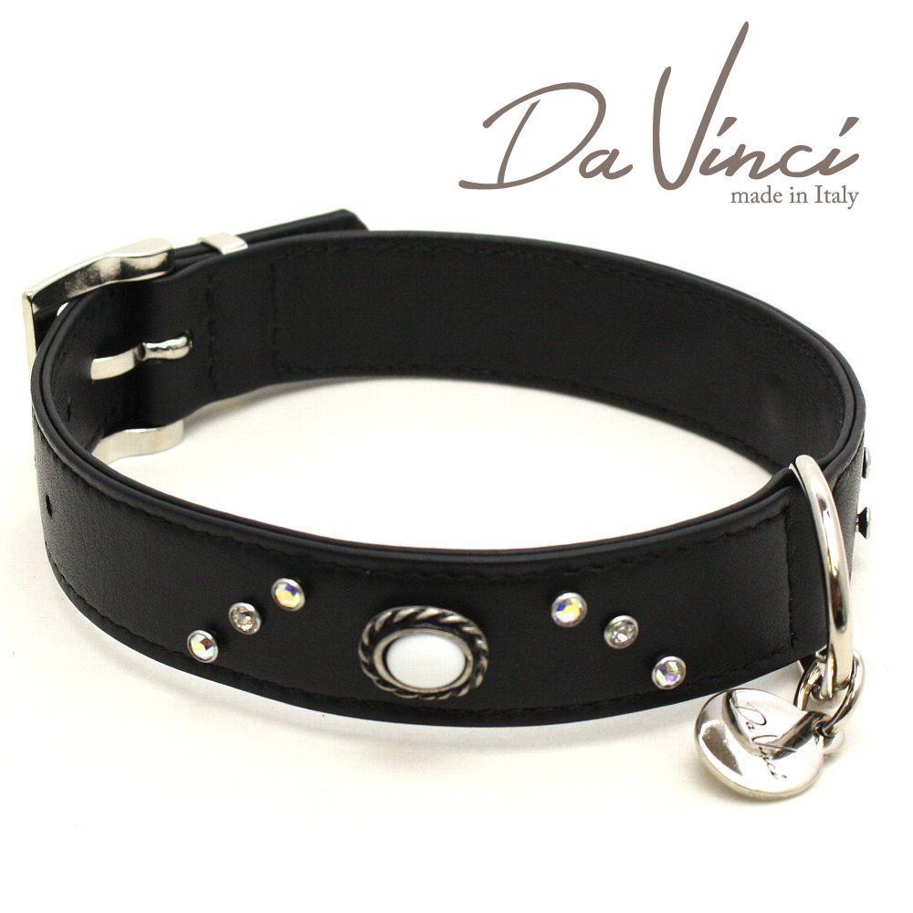 画像1: ダヴィンチ カラー Vittoria:黒 DV1.3.40B 【中型犬用首輪・首周り実寸:約29〜35cm お洒落な イタリア製 かわいい Da Vinci】 (1)