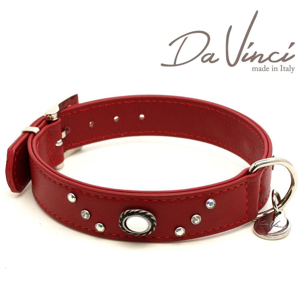画像1: ダヴィンチ /カラー Vittoria:赤/DV1.3.40R 【中型犬用首輪・首周り実寸:約29〜35cm/お洒落な/イタリア製/かわいい/Da Vinci】 (1)