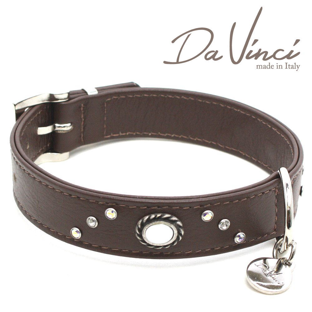 画像1: ダヴィンチ カラー Vittoria:茶 DV1.3.40BR 【中型犬用首輪・首周り実寸:約29〜35cm お洒落な イタリア製 かわいい Da Vinci】 (1)