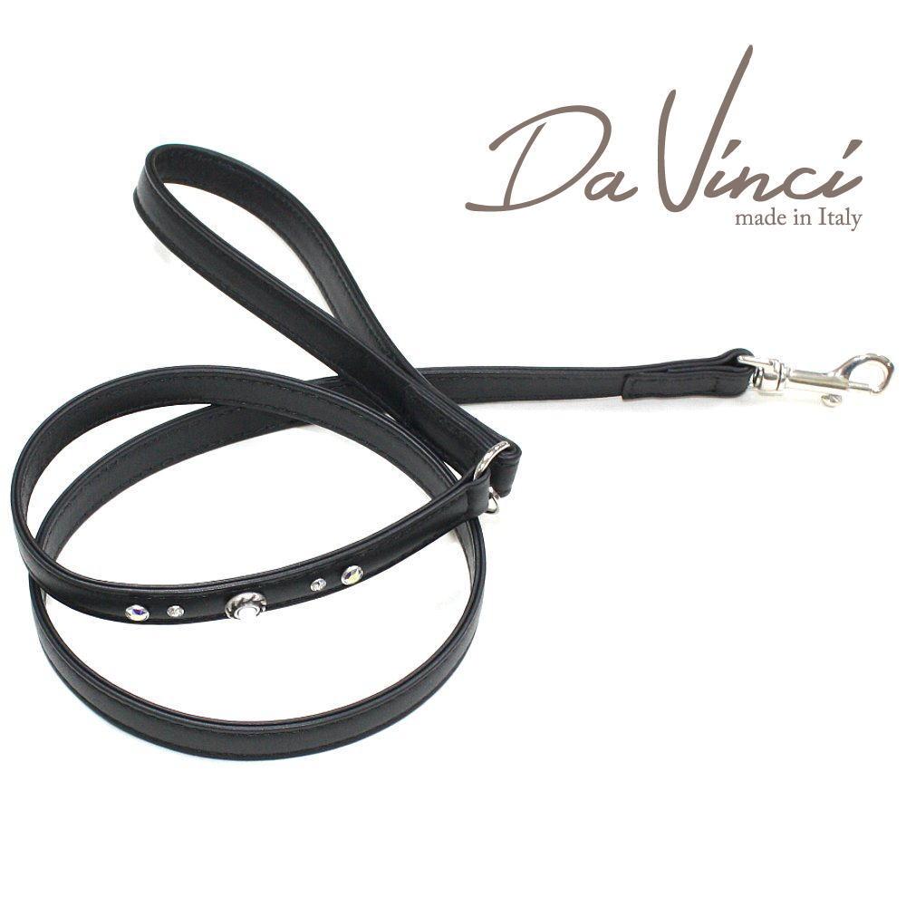 画像1: ダヴィンチ Vittoria:黒 DV1.4B 【犬用リード・全長:約110cm 幅:1.5cm お洒落な イタリア製 かわいい Da Vinci】 (1)