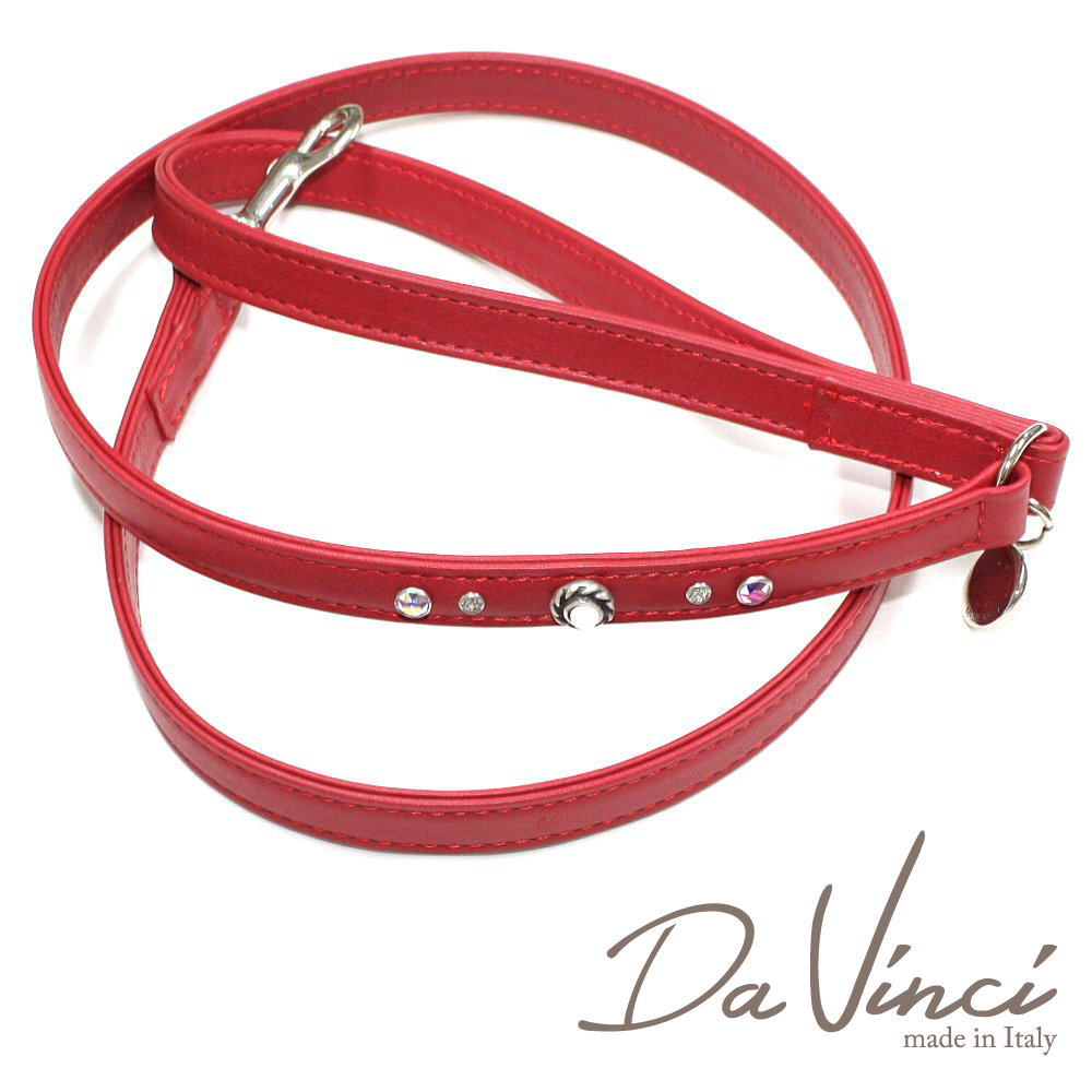 画像1: ダヴィンチ /Vittoria:赤/DV1.4R 【犬用リード・全長:約110cm/幅:1.5cm/お洒落な/イタリア製/かわいい/Da Vinci】 (1)