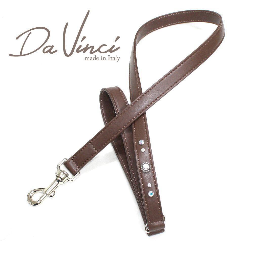 画像1: ダヴィンチ /Vittoria:茶/DV1.5BR 【犬用リード・全長:約110cm/幅:2cm/お洒落な/イタリア製/かわいい/Da Vinci】 (1)