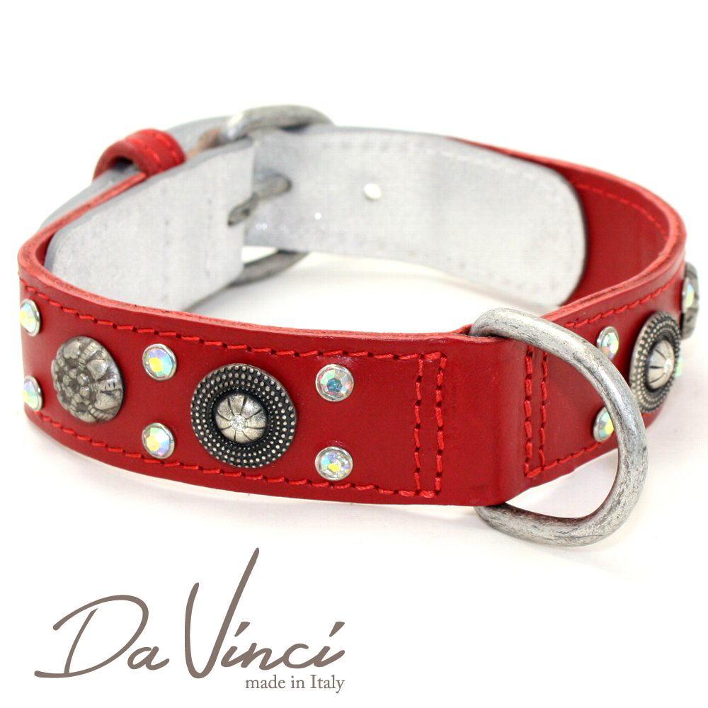 画像1: ダヴィンチ /カラー Ginevra:赤/DV3.2.45R 【中型犬用首輪・首周り実寸:約33〜37cm/お洒落な/イタリア製/かわいい/Da Vinci】 (1)