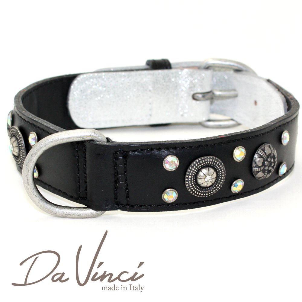 画像1: ダヴィンチ カラー Ginevra:黒 DV3.2.50B 【中型犬用首輪・首周り実寸:約36〜42cm お洒落な イタリア製 かわいい Da Vinci】 (1)