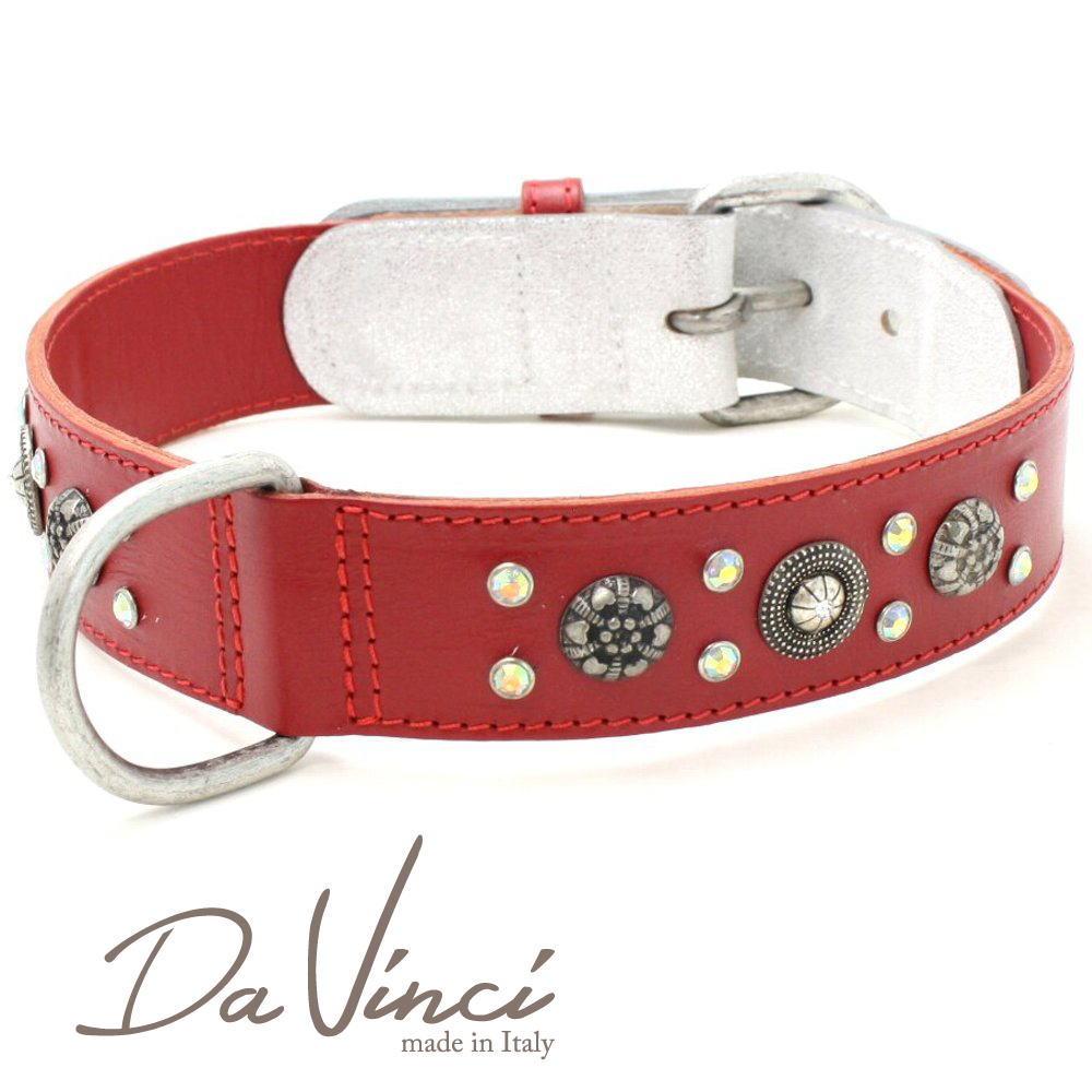 画像1: ダヴィンチ カラー Ginevra:赤 DV3.3.65R 【大型犬用首輪・首周り実寸:約50〜55cm お洒落な イタリア製 かわいい Da Vinci】 (1)