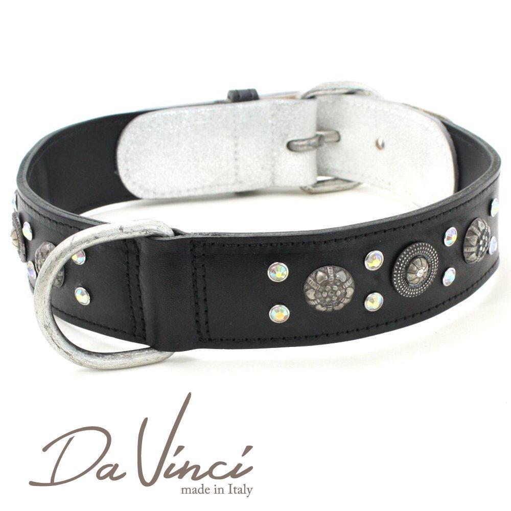 画像1: ダヴィンチ カラー Ginevra:黒 DV3.3.65B 【大型犬用首輪・首周り実寸:約50〜55cm お洒落な イタリア製 かわいい Da Vinci】 (1)