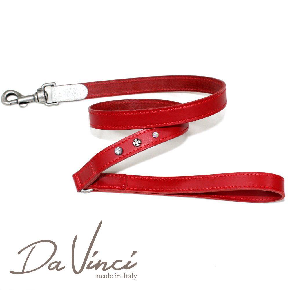 画像1: ダヴィンチ Ginevra:赤 DV3.4R 【犬用リード・全長:約110cm 幅:2cm お洒落な イタリア製 かわいい Da Vinci】 (1)