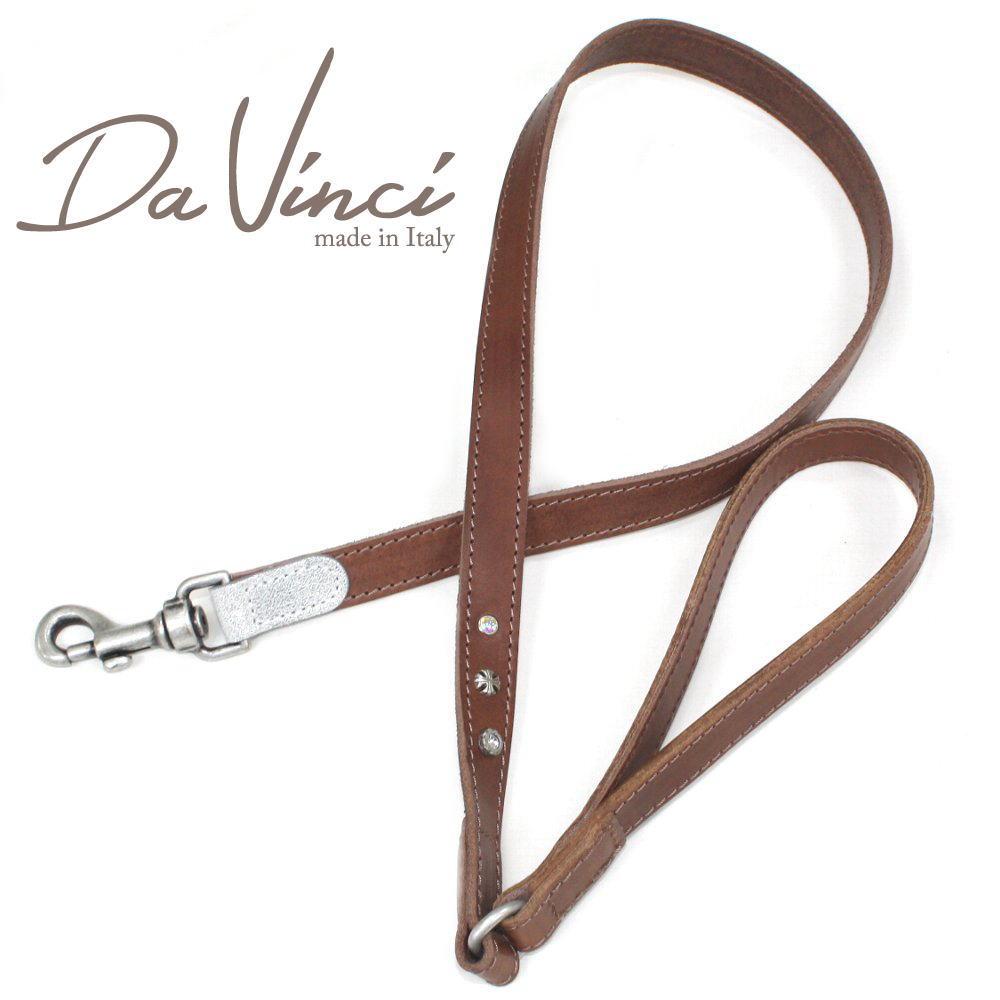 画像1: ダヴィンチ Ginevra:茶 DV3.4BR 【犬用リード・全長:約110cm 幅:2cm お洒落な イタリア製 かわいい Da Vinci】 (1)