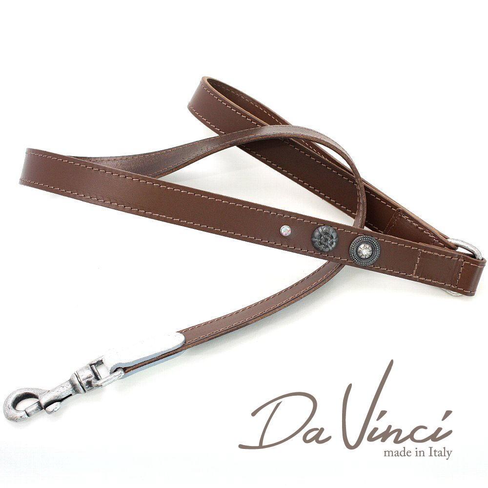 画像1: ダヴィンチ Ginevra:茶 DV3.5BR 【犬用リード・全長:約110cm 幅:2.5cm お洒落な イタリア製 かわいい Da Vinci】 (1)