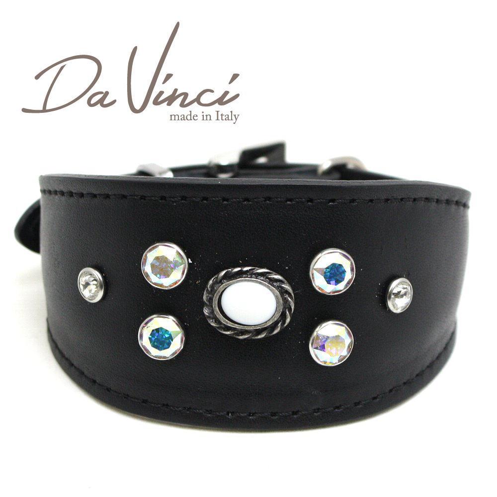 画像1: ダヴィンチ カラー Vittoria:黒 DV1.7.30B 【小型犬用首輪・首周り実寸:約21〜25cm お洒落な イタリア製 かわいい Da Vinci】 (1)