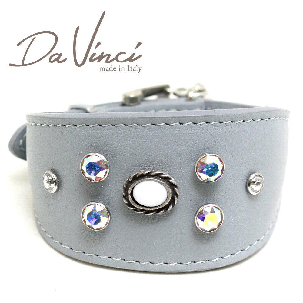 画像1: ダヴィンチ カラー Vittoria:グレー DV1.7.30G 【小型犬用首輪・首周り実寸:約21〜25cm お洒落な イタリア製 かわいい Da Vinci】 (1)