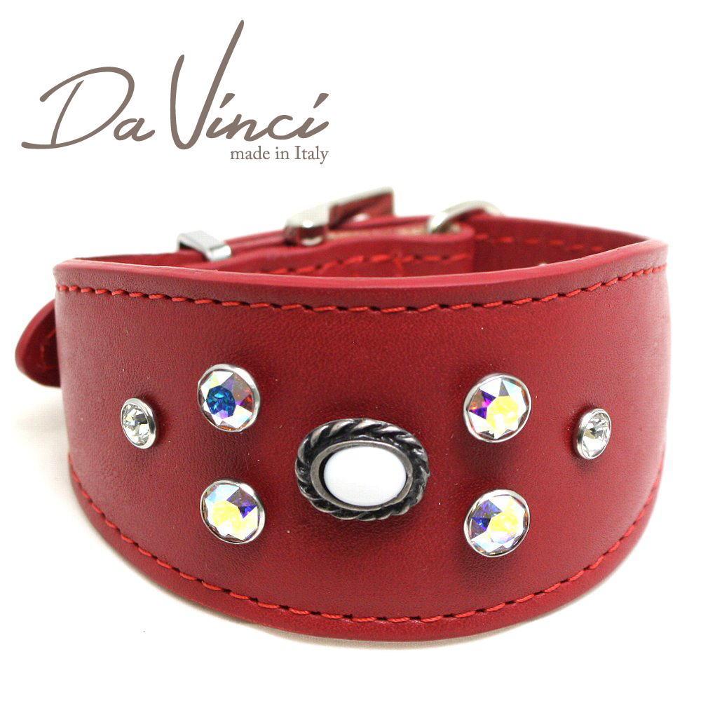 画像1: ダヴィンチ カラー Vittoria:赤 DV1.7.30R 【小型犬用首輪・首周り実寸:約21〜25cm お洒落な イタリア製 かわいい Da Vinci】 (1)
