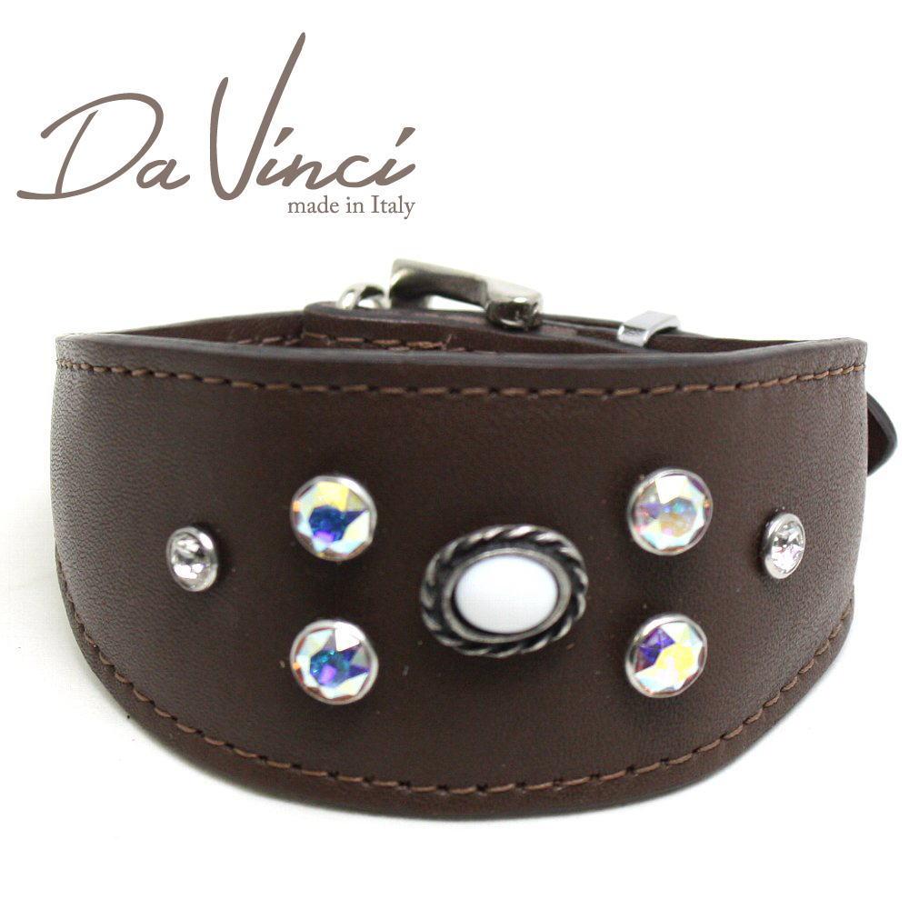 画像1: ダヴィンチ /カラー Vittoria:茶/DV1.7.30BR 【小型犬用首輪・首周り実寸:約21〜25cm/お洒落な/イタリア製/かわいい/Da Vinci】 (1)