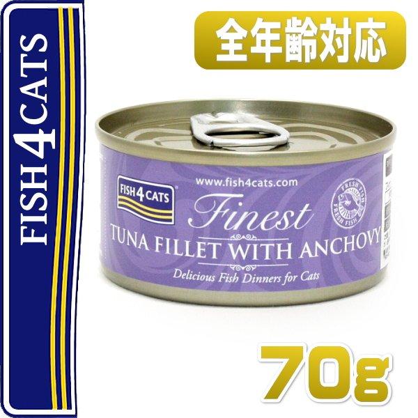 画像1: 最短賞味2021.8・フィッシュ4キャット 猫缶「ツナ&アンチョビ」 70g缶 全猫種・全年齢対応ウェット・一般食・fish4cats 正規品 f4c02066 (1)