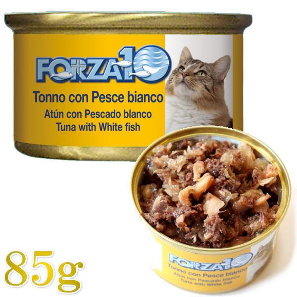 画像1: 最短賞味2022.2・フォルツァ10 猫用 メンテナンス マグロ&白身魚 85g缶 成猫用 シニア猫対応ウェット 一般食 FORZA10 正規品 (1)