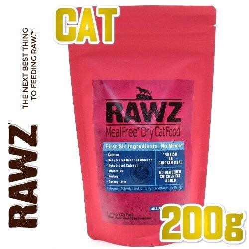 画像1: 最短賞味2020.7.2・ラウズ 猫用 サーモン、ディハイドレイテッドチキン & ホワイトフィッシュ 200g 全年齢対応 キャットフード ドライフード 穀物不使用 RAWZ・正規品 (1)