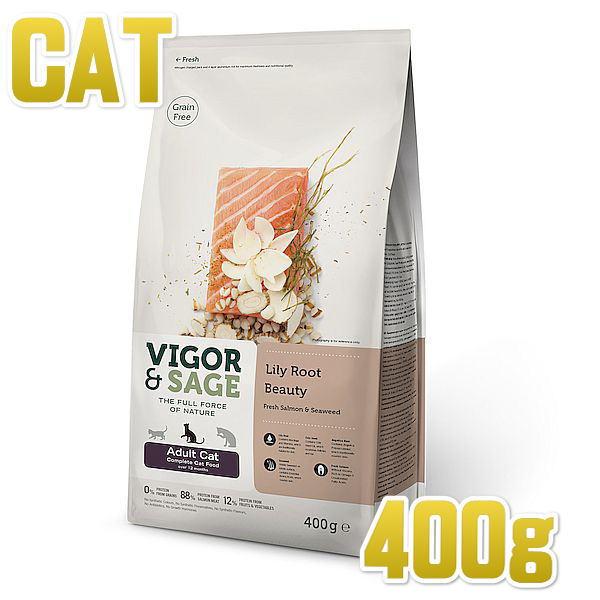 画像1: 最短賞味2021.3.8・ビゴー&セージ リリールート ビューティ 400g 成猫用ドライ 穀物不使用キャットフードVIGOR&SAGE正規品vs70394 (1)